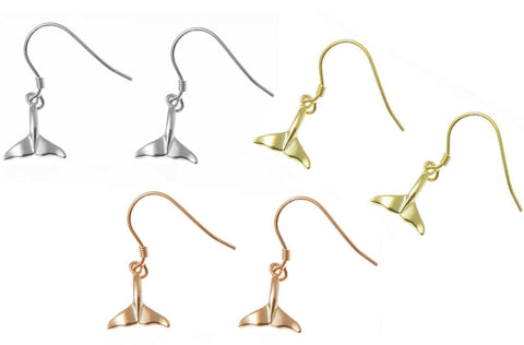 YELLOW ROSE GOLD PLATED RHODIUM SILVER 925 HAWAIIAN WHALE TAIL HOOK EARRINGS SM (WJ-3)