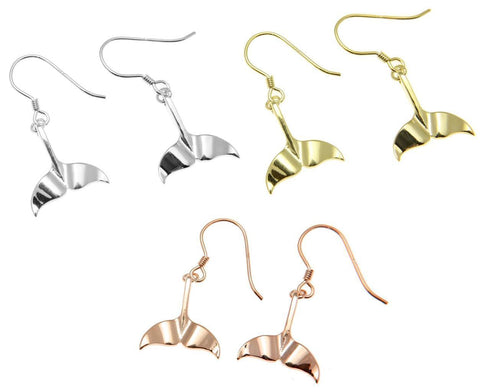 YELLOW ROSE GOLD PLATED RHODIUM SILVER 925 HAWAIIAN WHALE TAIL HOOK EARRINGS (WJ-16)
