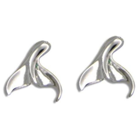 STERLING SILVER 925 HAWAIIAN HIGH POLISH SHINY WHALE TAIL EARRINGS SMALL (WJ-18)