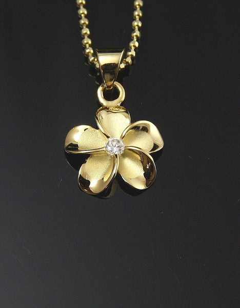YELLOW GOLD PLATED SILVER 925 HAWAIIAN PLUMERIA FLOWER PENDANT CZ 12MM (PP-17)