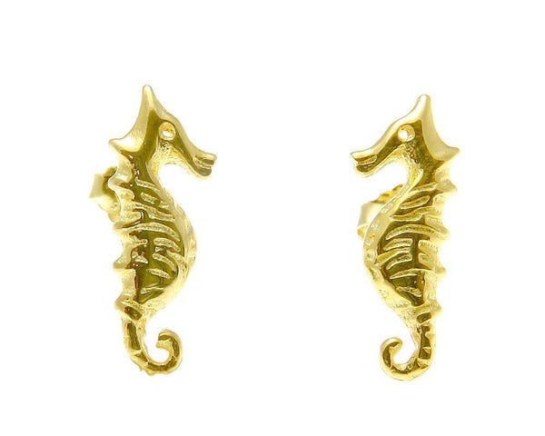 YELLOW ROSE GOLD PLATED RHODIUM SILVER 925 HAWAIIAN SEAHORSE STUD EARRINGS SMALL (SHJ-1)