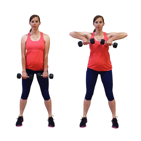 pregnant woman doing upright rows