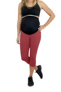 Mumberry® Dark Red Maternity Leggings with Over Belly Pregnancy Support