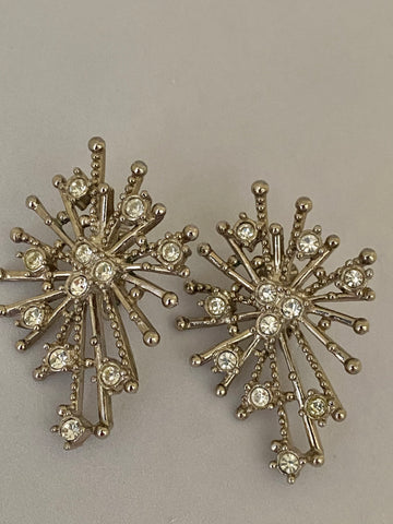 Avon Silver Tone Starburst Clip On Earrings