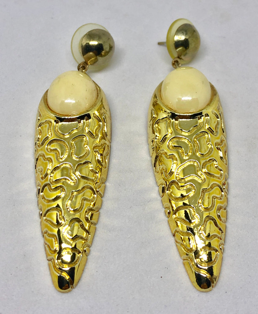 Gold Tone Post Dangle Earrings with Cream Cabochons