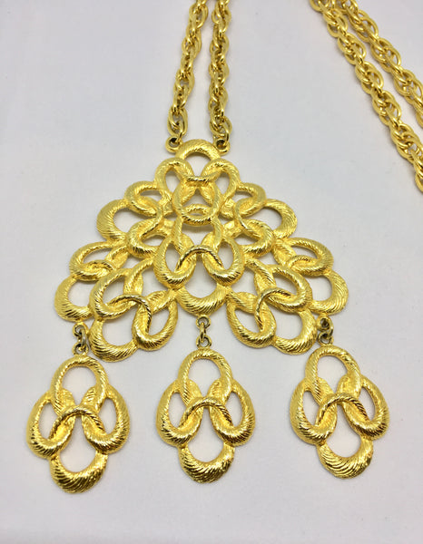 Gold Tone Triple Pendant Necklace