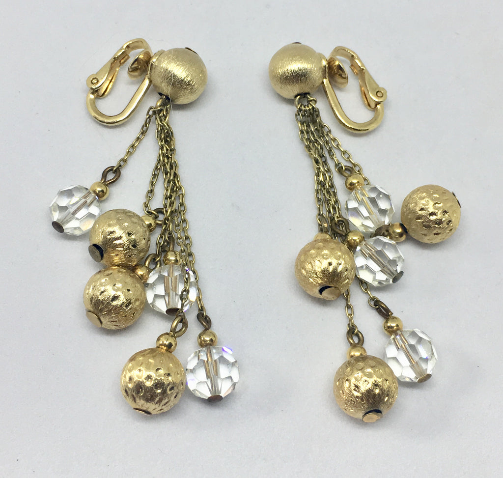 Napier Gold Tone & Crystal Clip On Earrings