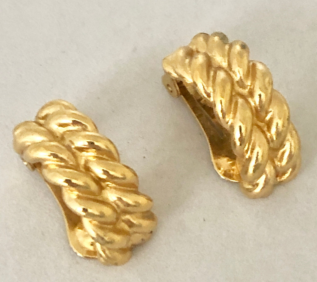 Christian Dior Small Gold Plated Knot Clip On Earrings