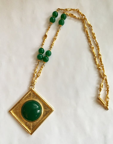 Balenciaga Gold Tone & Green Gripoix Necklace