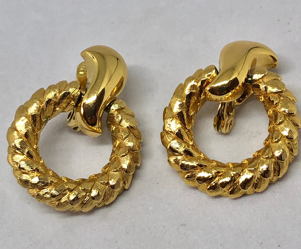 Monet Gold Tone Scaly Clip On Earrings