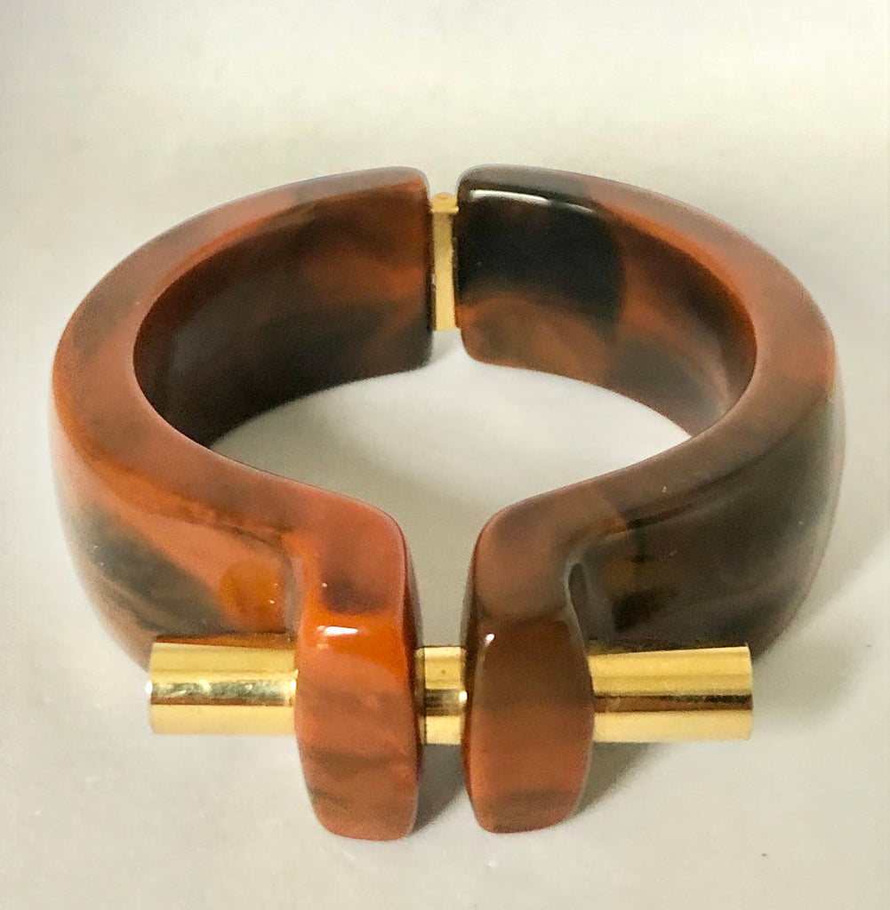 Trifari Brown Lucite Clamper Bracelet