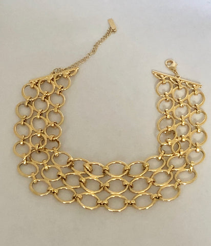 Napier Gold Tone Adjustable Link Choker Necklace
