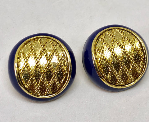 Balenciaga Blue Enamel & Gold Tone Clip On Earrings