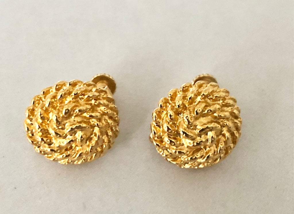Napier Gold Tone Knot Clip On Earrings