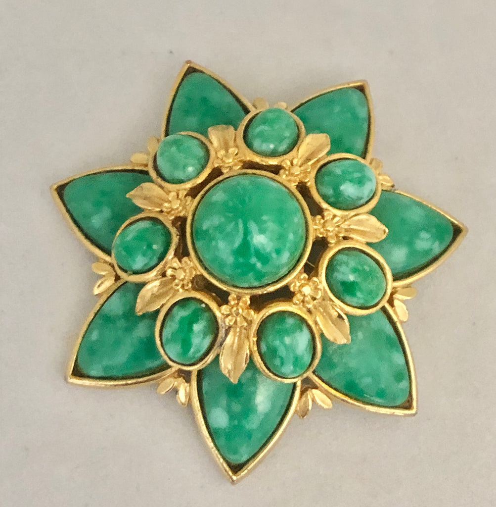 Green Cabochon Star Brooch