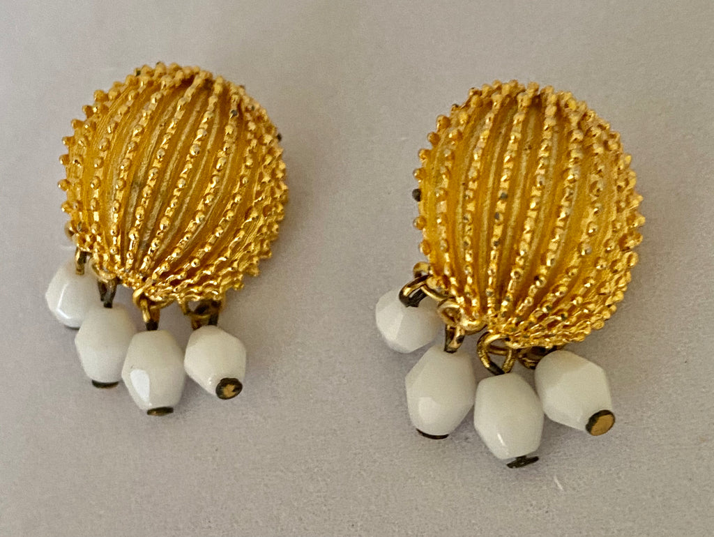 Trifari Clip On Earrings with White Beads