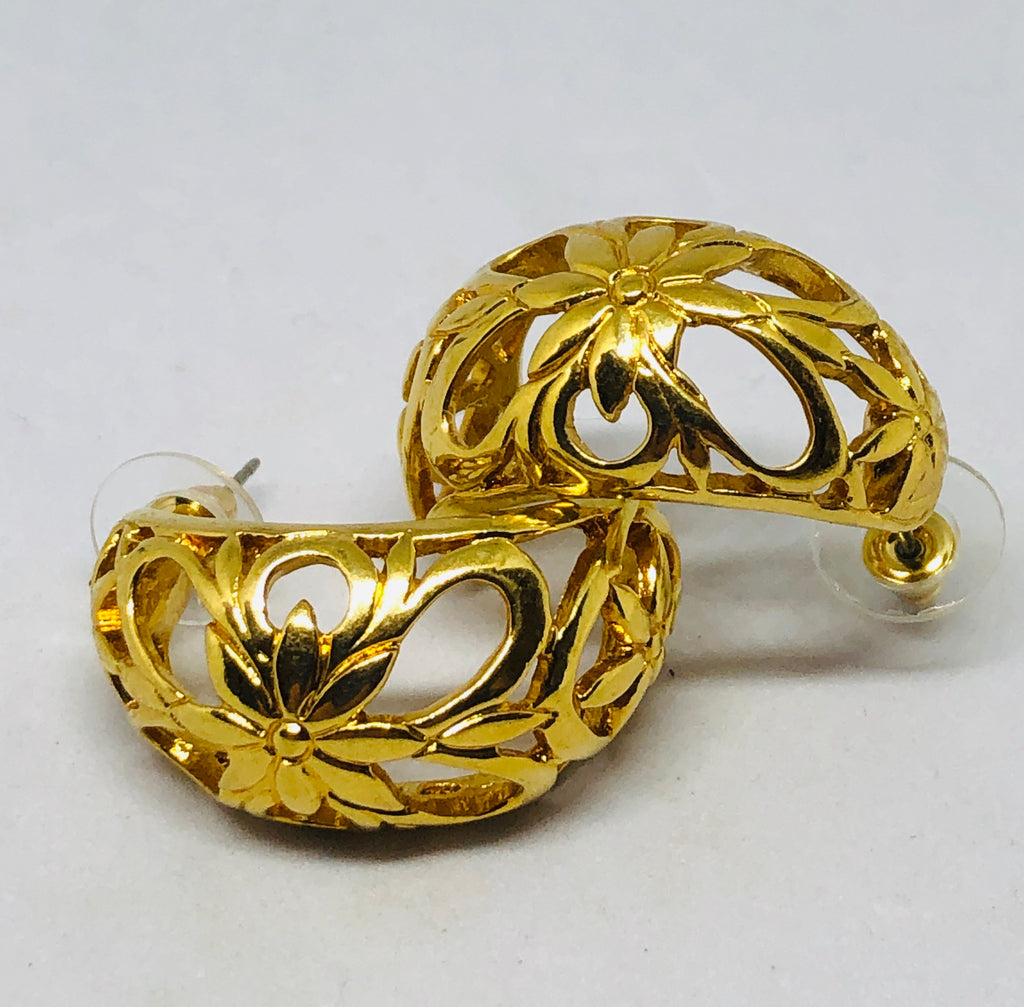 Gold Tone Flower Hoop Post Earrings