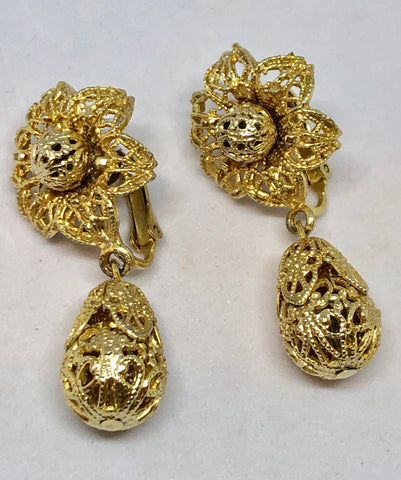 Gold Tone Etruscan Flower Clip On Earrings