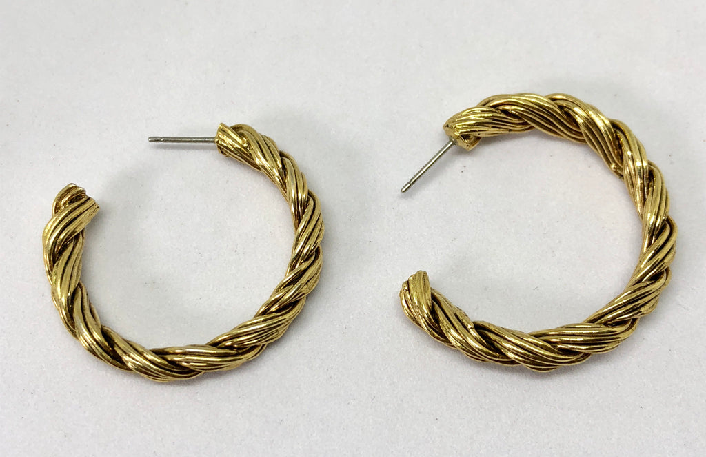 Twisted Gold Tone Pierced Hoop Earrings