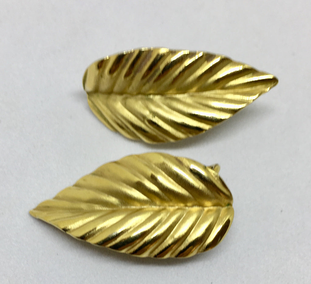 Napier Gold Tone Leaf Pierced Earrings
