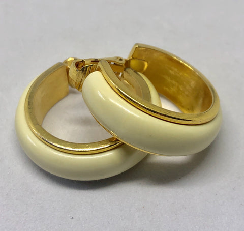 Avon Cream Enamel Clip On Earrings
