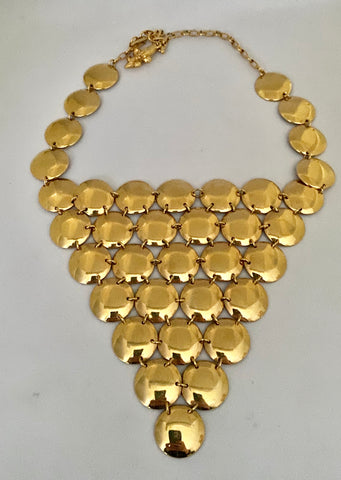 Vendome Gold Tone Disc Necklace