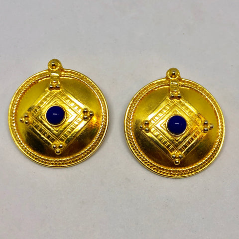 Ben Amun Gold Tone Clip on Earrings with Purple Cabochon