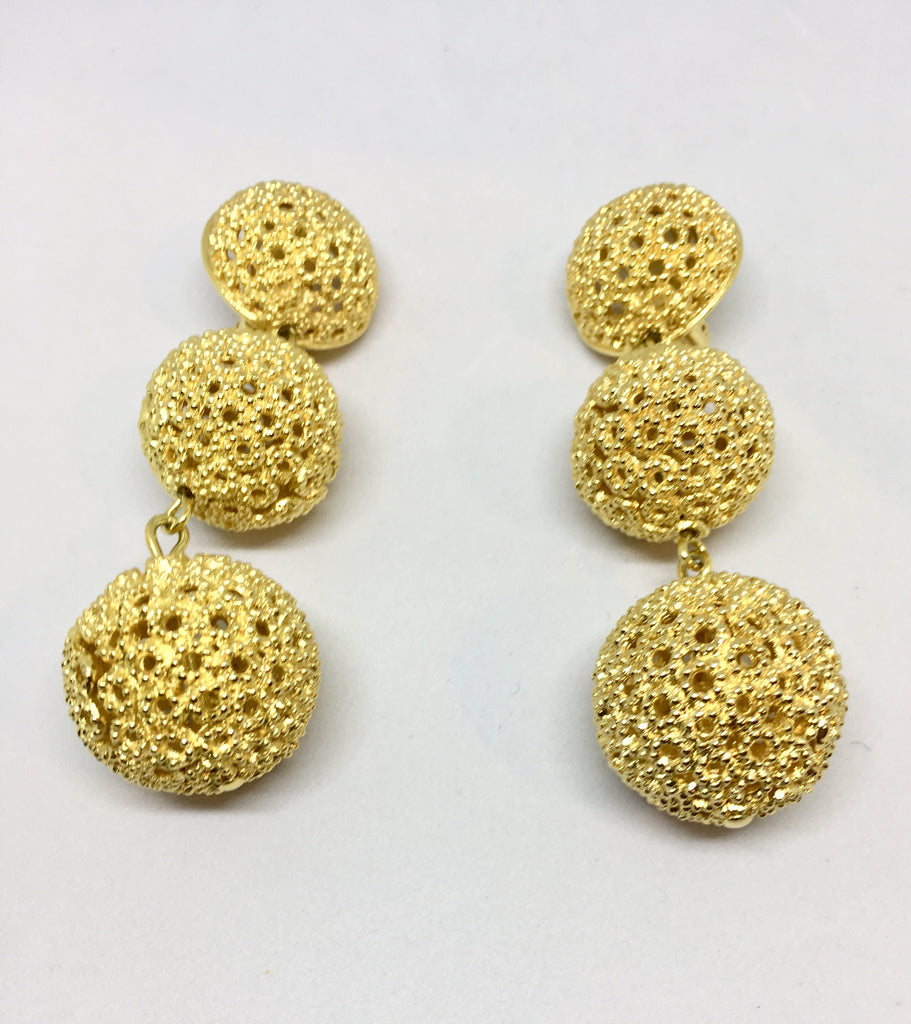 Christian Dior Three Ball Gold Plate Dangle Clip On Earrings