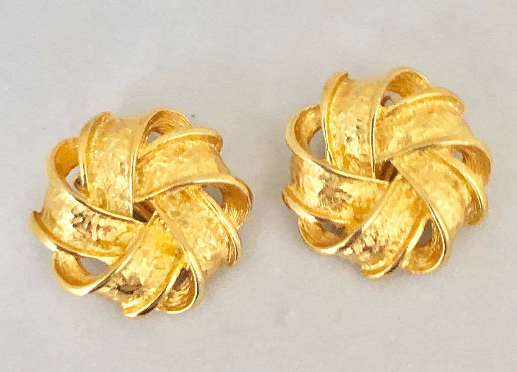 Gold Tone Pinwheel Clip On Earrings