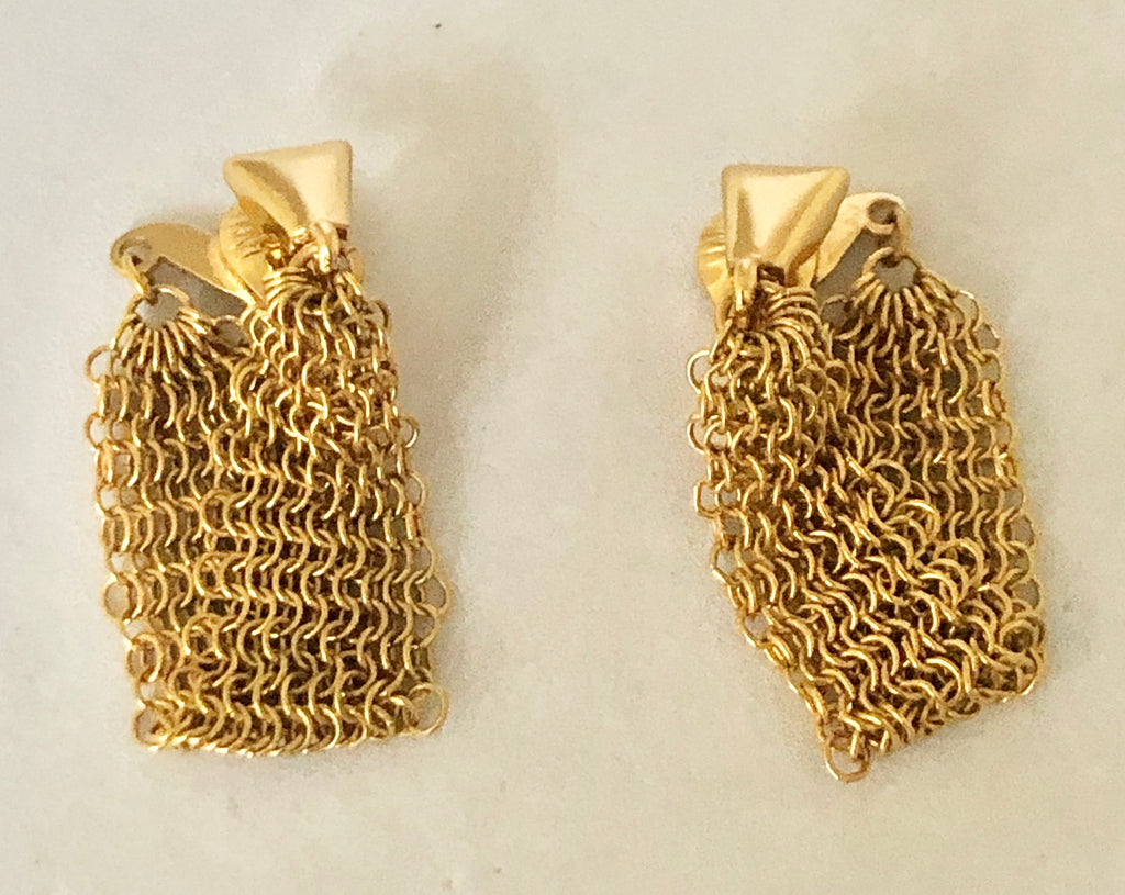 Monet Mesh Gold Tone Clip On Earrings