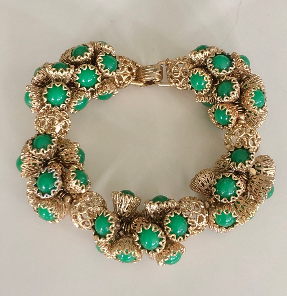 Napier Etruscan Green Beaded Bracelet