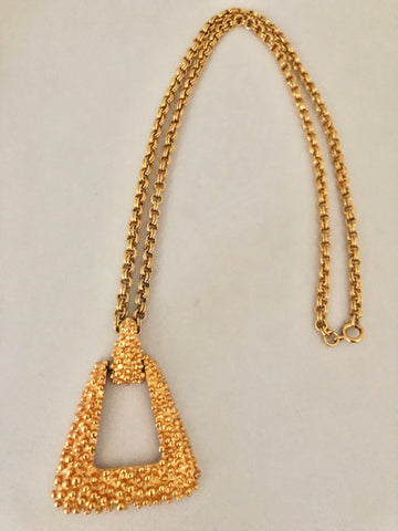 Sarah Coventry Gold Tone Pebbled Pendant Necklace