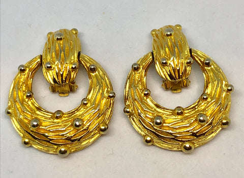 Pauline Rader Gold Tone Door Knocker Clip On Earrings
