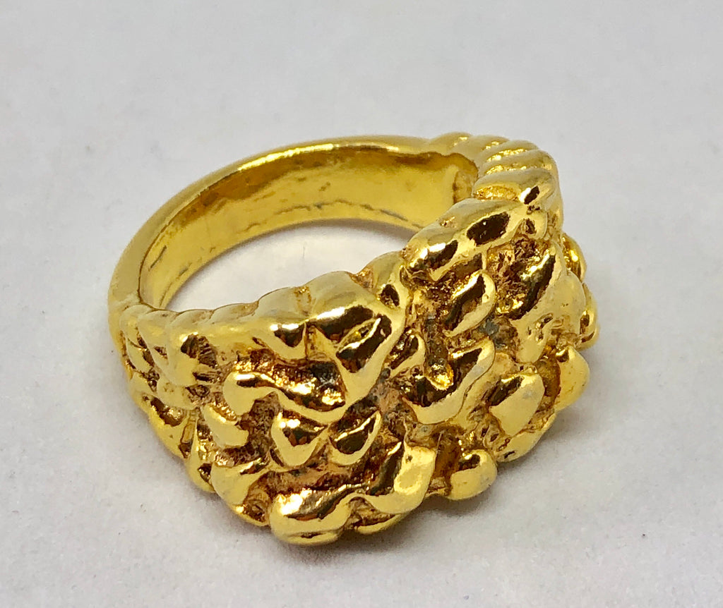 Gold Tone Brutalist Ring Sz 11.5