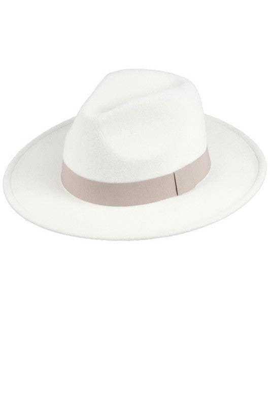 GREY AND WHITE FAUX FELT CLASSIC PANAMA HAT