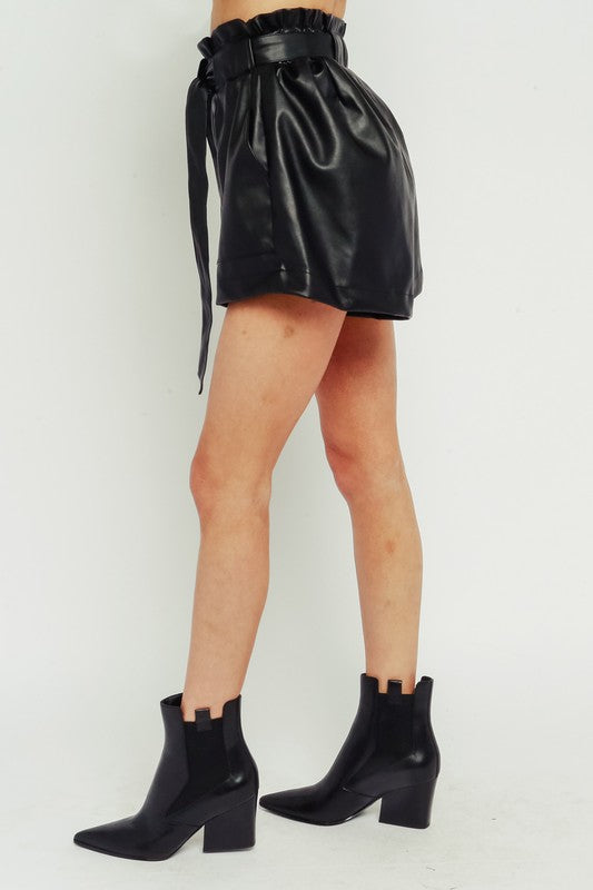 LAST TO LEAVE PAPER BAG SHORTS | Olivaceous Blu Spero online shopping