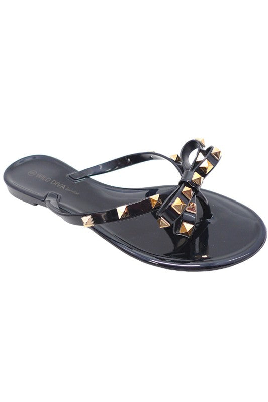 SOPHIE BLACK STUDDED THONG SLIDE SANDAL