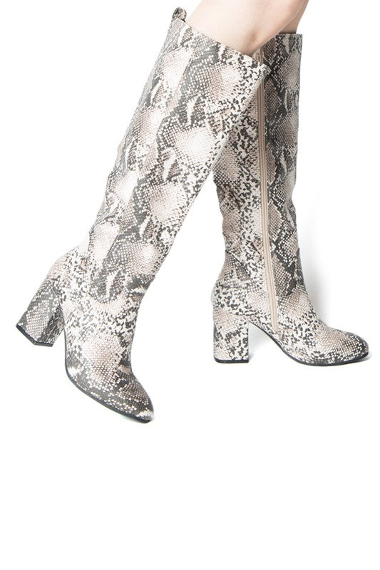 WHITNEY BEIGE SNAKE KNEE HIGH BOOT