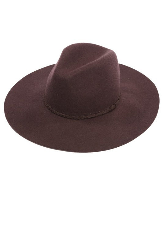 PANAMA MEDIUM BRIM WITH BRAIDED FAUX SUEDE STRAP