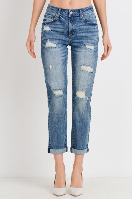 ROLL UP SLIM FIT BOYFRIEND JEANS
