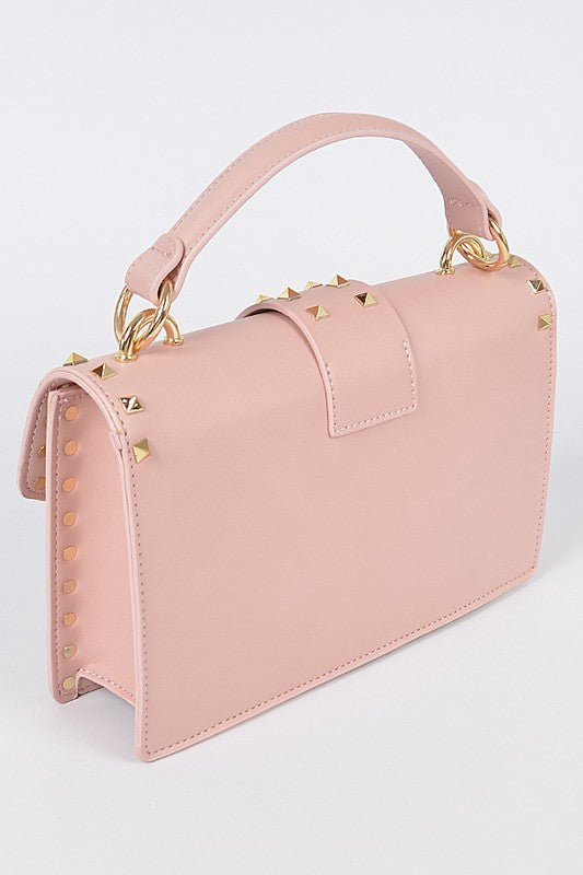 PINK OUTLINED STUDDED CLUTCH