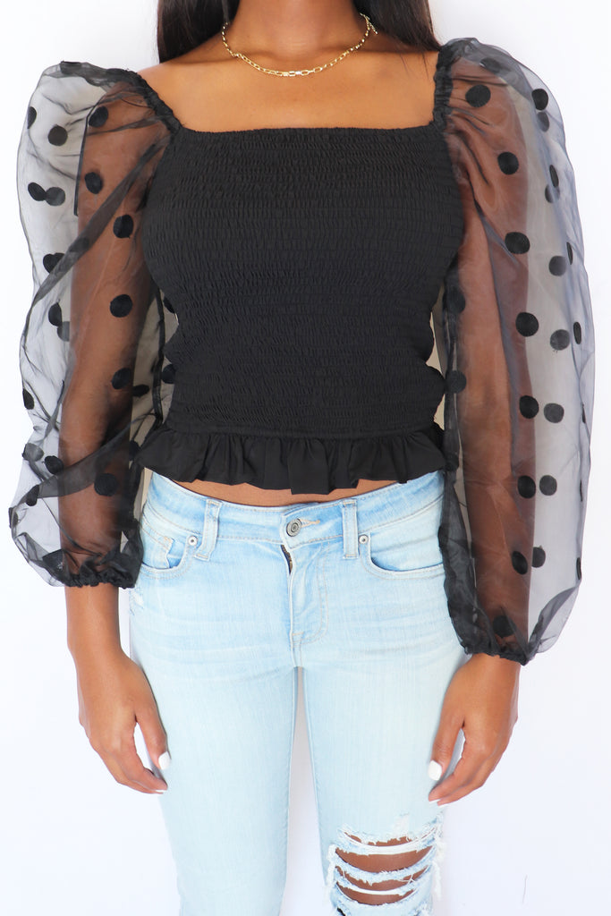 WAITING FOR LOVE POLKA DOT TOP – 2 COLORS | IDEM DITTO Blu Spero online shopping
