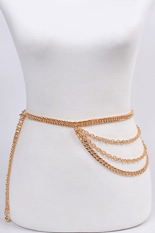 4 ROW GOLD CHAIN SIDE BELT | BAG BOUTIQUE Blu Spero online shopping