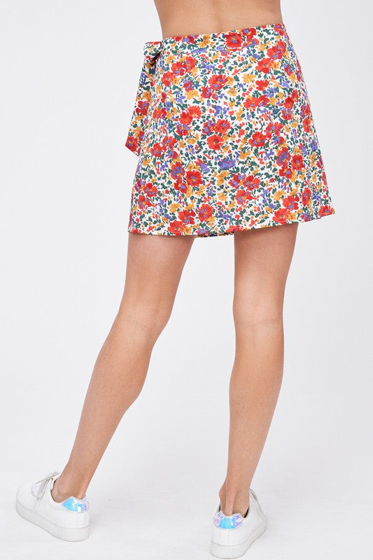 BE ALRIGHT FLORAL WRAP SKIRT | EMORY PARK Blu Spero online shopping