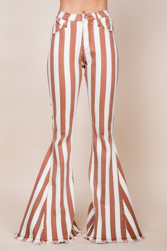 MAD LOVE STRIPED FLARE JEANS | SAINTS & HEARTS Blu Spero online shopping