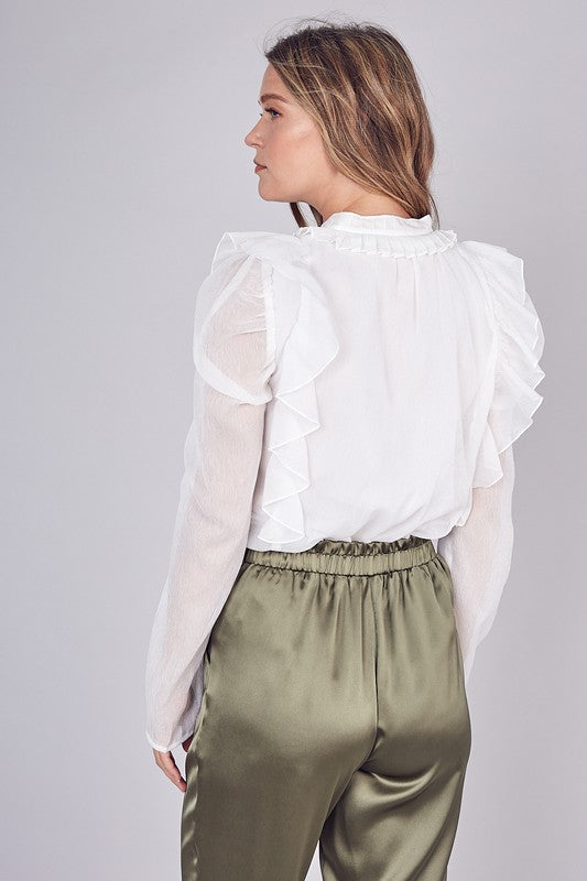 KINDNESS KILLS WHITE RUFFLE TOP | DO + BE Blu Spero online shopping