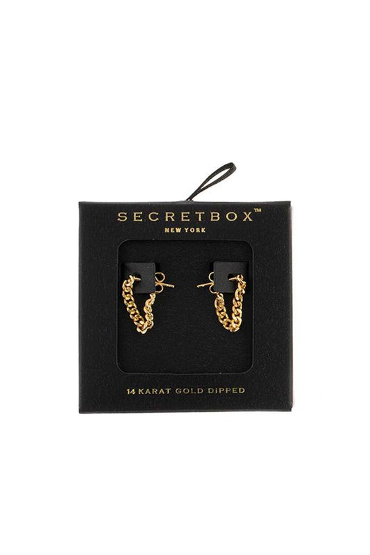 GOLD DIPPED CHAIN DROP STUDS | FAME Blu Spero online shopping