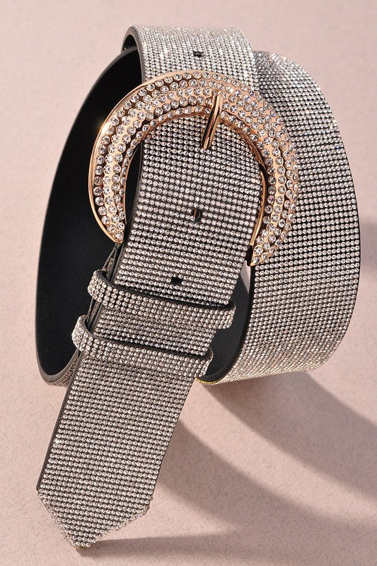 BLACK RHINESTONE BELT