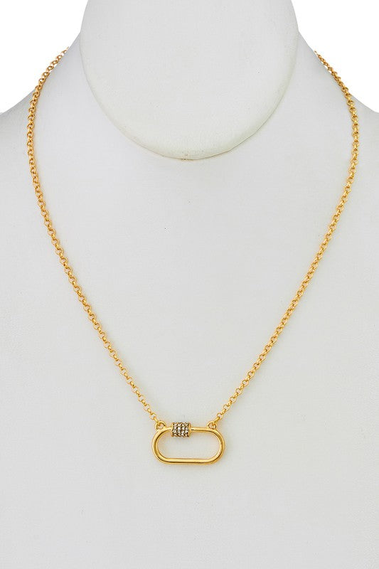 GOLD CARABINER PENDANT NECKLACE