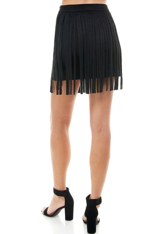 FRINGE-TASTIC BLACK MINI SKIRT | TCEC Blu Spero online shopping